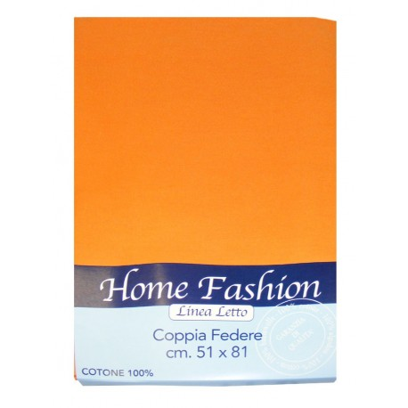 COPPIA FEDERE CUSCINO TINTA UNITA HOME FASHION ARANCIO