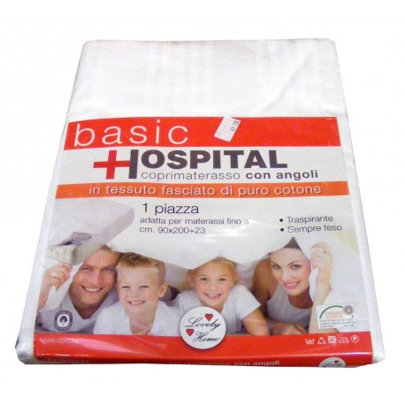COPRIMATERASSO CON ANGOLI BASIC HOSPITAL LOVELY HOME