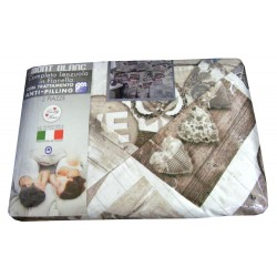 COMPLETO LENZUOLA FLANELLA MATRIMONIALE CORTINA MONT BLANC LOVELY HOME BEIGE