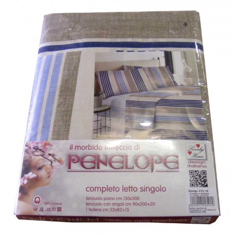 COMPLETO LENZUOLA COTONE RIGHE 470-18 PENELOPE LOVELY HOME