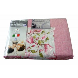 COMPLETO LENZUOLA FLANELLA MATRIMONIALE FIORI MONT BLANC LOVELY HOME ROSA