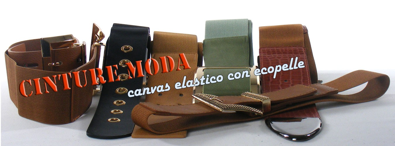 Cinture moda in canvas elastico con ecopelle
